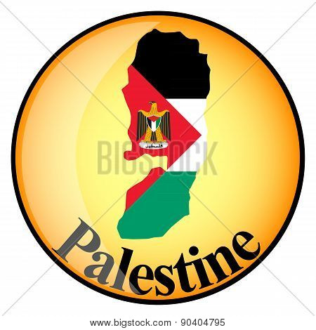 Orange Button With The Image Maps Of Palestine