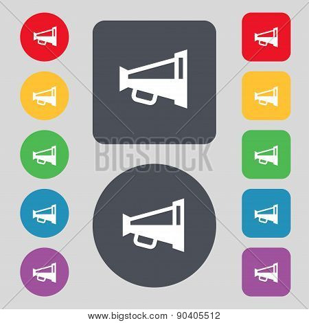 Megaphone Soon, Loudspeaker Icon Sign. A Set Of 12 Colored Buttons. Flat Design. Vector