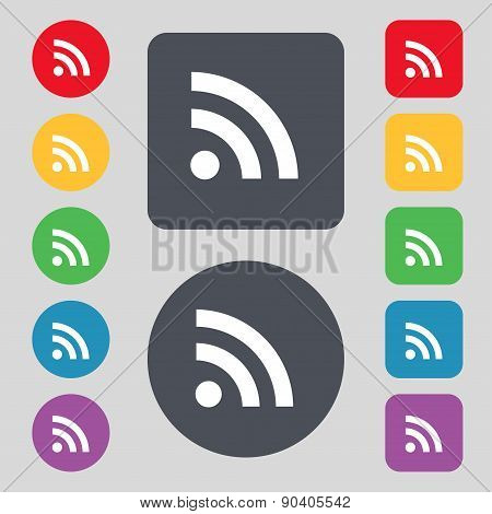 Rss Feed Icon Sign. A Set Of 12 Colored Buttons. Flat Design. Vector