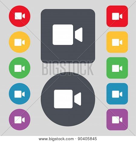 Video Camera Icon Sign. A Set Of 12 Colored Buttons. Flat Design. Vector