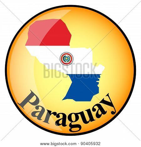 Orange Button With The Image Maps Of Button Paraguay