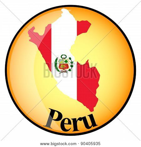 Orange Button With The Image Maps Of Peru
