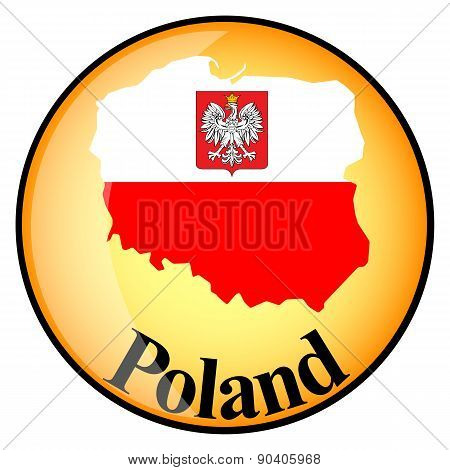 Orange Button With The Image Maps Of Poland