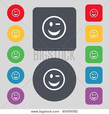 Winking Face Icon Sign. A Set Of 12 Colored Buttons. Flat Design. Vector