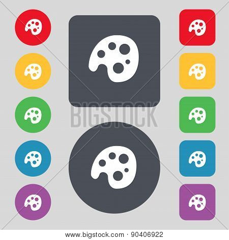 Palette Icon Sign. A Set Of 12 Colored Buttons. Flat Design. Vector