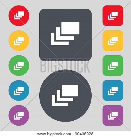 Layers Icon Sign. A Set Of 12 Colored Buttons. Flat Design. Vector