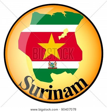 Orange Button With The Image Maps Of Surinam