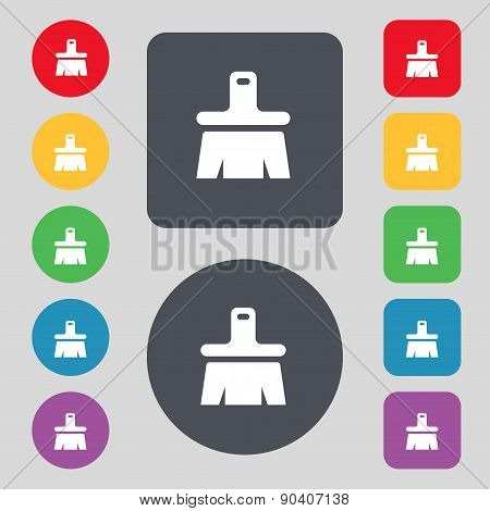 Paint Brush, Artist Icon Sign. A Set Of 12 Colored Buttons. Flat Design. Vector