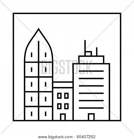 Urban vector city skyline and buildings. Cityscape icon