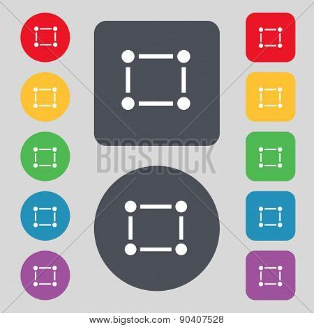 Crops And Registration Marks Icon Sign. A Set Of 12 Colored Buttons. Flat Design. Vector