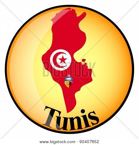 Orange Button With The Image Maps Of Tunis