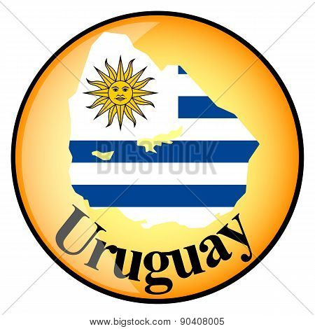 Orange Button With The Image Maps Of Uruguay