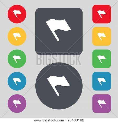 Finish, Start Flag Icon Sign. A Set Of 12 Colored Buttons. Flat Design. Vector