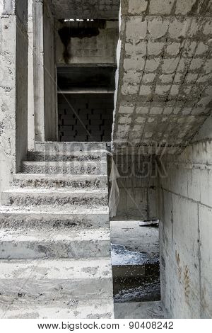 View Of The Concrete Stairs In The Unfinished House