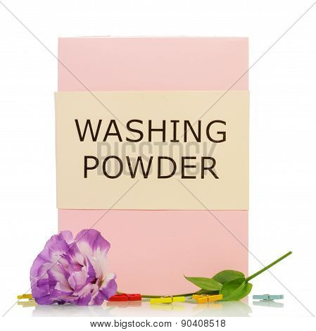 Washing powder with violet flowers