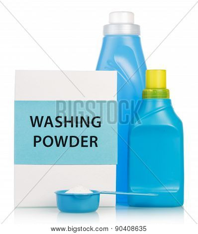 Washing powder and Cleaning items in blue tones
