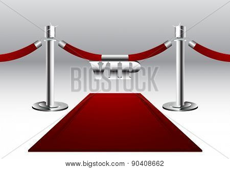 Red Carpet with VIP sign Hanging on Barrier Rope with Silver Poles