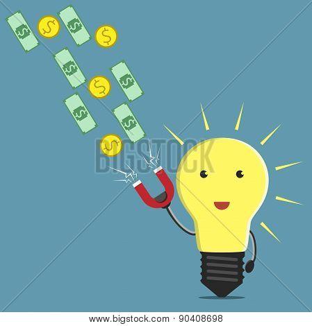 Lightbulb, Magnet And Money