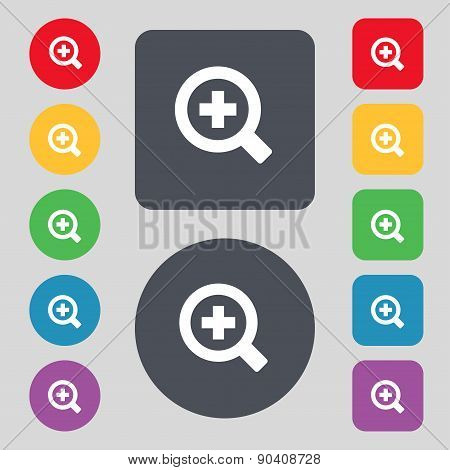 Magnifier Glass, Zoom Tool Icon Sign. A Set Of 12 Colored Buttons. Flat Design. Vector