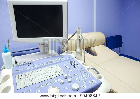 Interior Of Examination Room With Ultrasonography Machine
