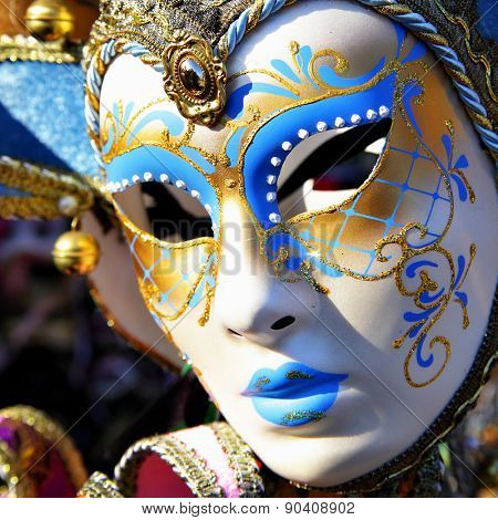 VENICE, ITALY - OCTOBER 02, 2013: Traditional venice mask at market stall
