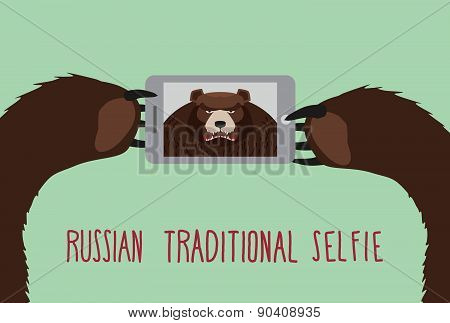 Russian tradition selfie. Bear takes pictures of herself.