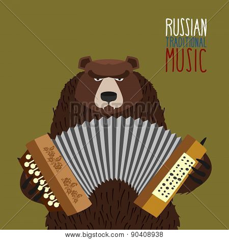 Bear was playing the balalaika. Russian national musical instrument.