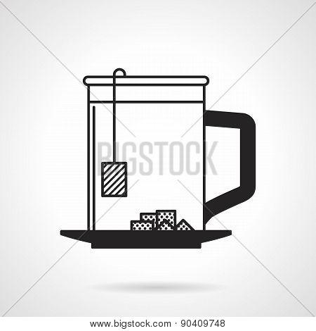 Tea cup with sugar black vector icon