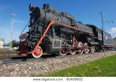 Exterior of the vintage locomotive at the railway station in Vilnius, Lithuania.