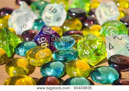 Colorful Role-playing D&D Dice And Gems