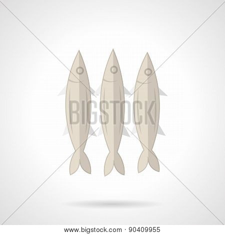 Three sardines flat vector icon