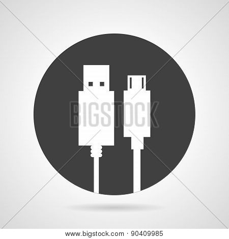 USB plug black round vector icon
