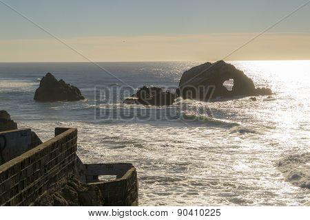 Boulders in the ocean