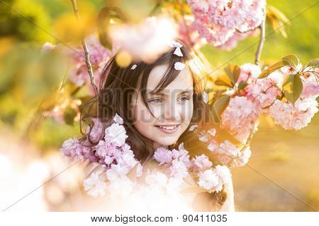 Small Girl Amid Cherry Blooming