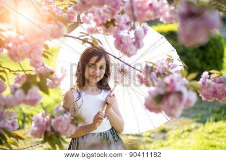 Smiling Girl With Japanese Umbrella