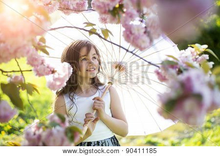 Smiling Girl With Japanese Parasol