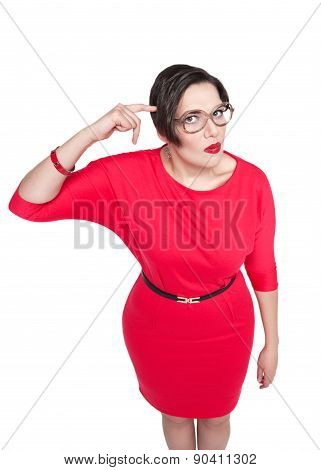 Beautiful Plus Size Woman Gesturing Finger Against Her Temple