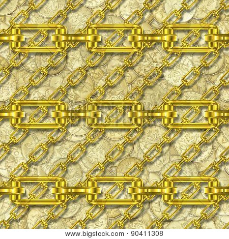 Iron Chains with Golden Coins Seamless Texture