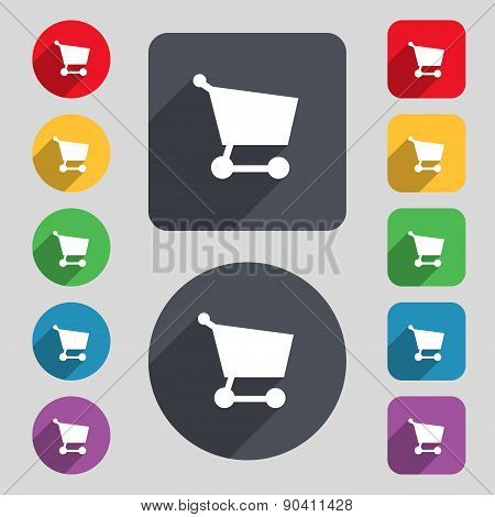 Shopping Basket Icon Sign. A Set Of 12 Colored Buttons And A Long Shadow. Flat Design. Vector