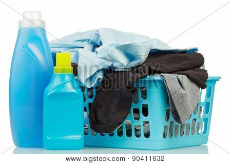 Clothes with detergent and washing powder