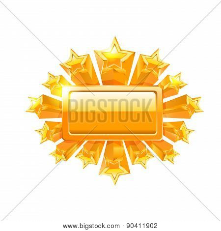 Gold frame and gold stars. Vector