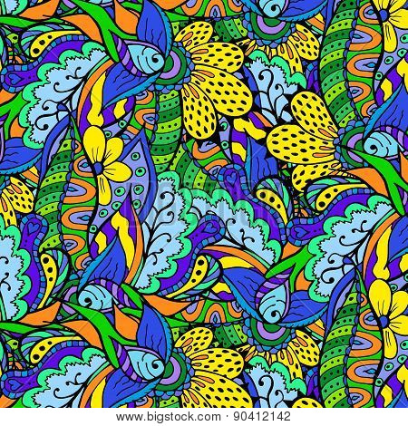 Beautiful doodle floral background. Pattern in swatch panel.