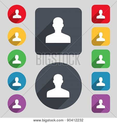 User, Person, Log In Icon Sign. A Set Of 12 Colored Buttons And A Long Shadow. Flat Design. Vector