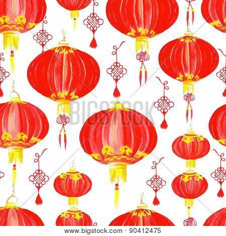 Oriental Chinese Lantern Seamless Vector Pattern