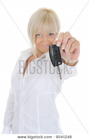 Woman Holds The Key To The Car