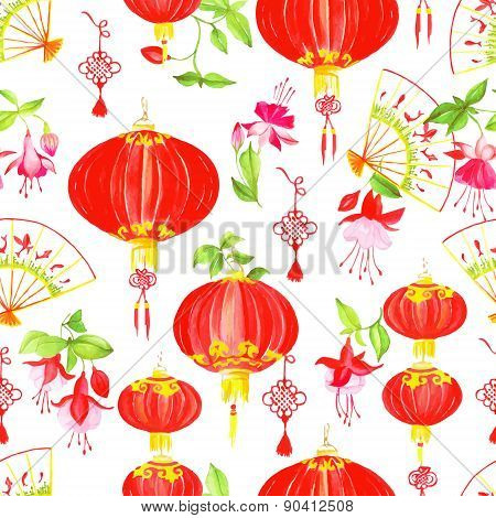 Oriental Culture Objects Watercolor Seamless Vector Pattern