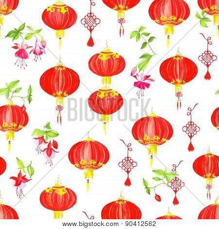 Oriental Style Watercolor Seamless Vector Pattern