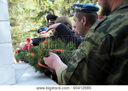 Laying On Wreath On The Monument Of Glory  On The Victory Day
