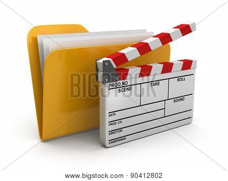 Folder and lists with Opened Clapboard (clipping path included)