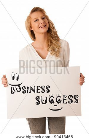 Beautiful Young Caucasian Business Woman Holding A Blank White Board In Her Hand Isolaetd Over White